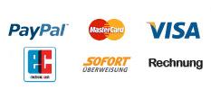 Bezahlmöglichkeiten: PayPal, MasterCard, Visa, EC, giropay Sofortüberweisung, Rechnung